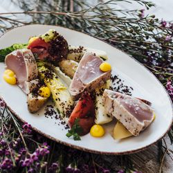 Niçoise salad with seared albacore and egg yolks