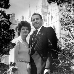 President Thomas S. Monson and his wife, Frances, in front of the Salt Lake Temple.
