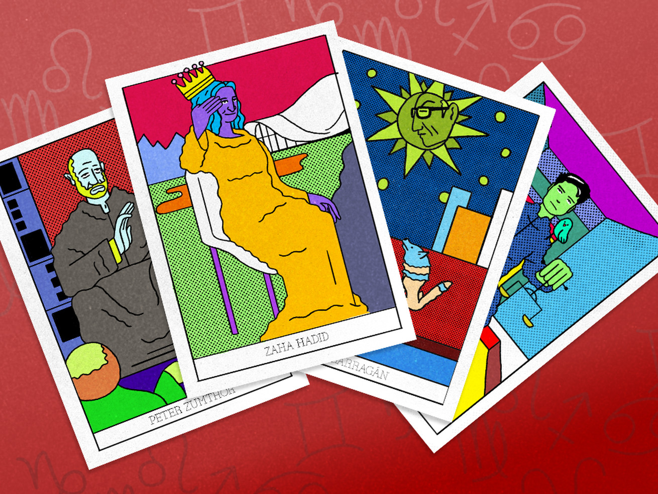 Brightly illustrated tarot cards feature people on them in purples, greens, yellows, and red.