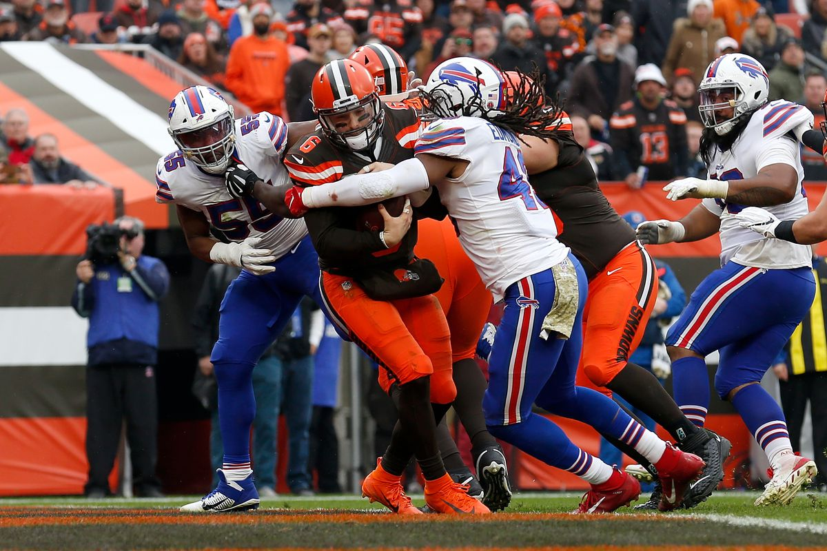 Tremaine Edmunds of the Buffalo Bills sacks Baker Mayfield of the Cleveland Browns in the end zone for a safety during the third quarter at FirstEnergy Stadium on November 10, 2019 in Cleveland, Ohio.