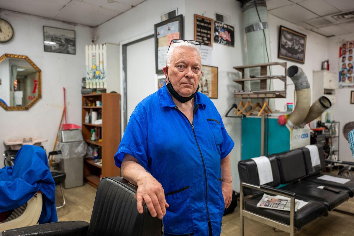 Dominick Abruscato, 72, owns the Royal Barber Shop at the Fulton Street Transit Center. May 21, 2021.