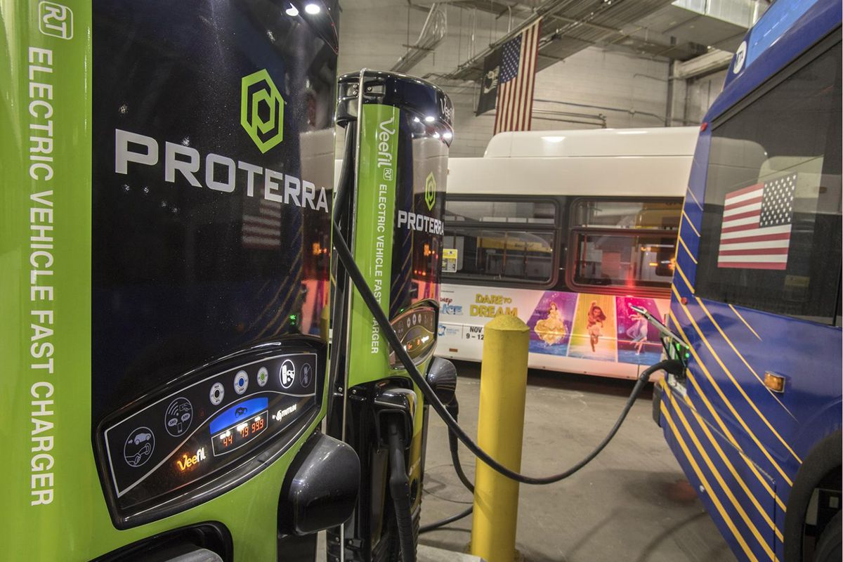 An electric bus charging station.