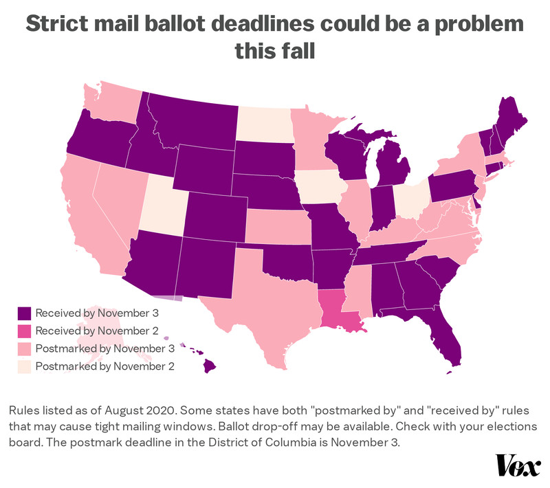 "Map: ""Strict mail ballot deadlines could be a problem this fall"""