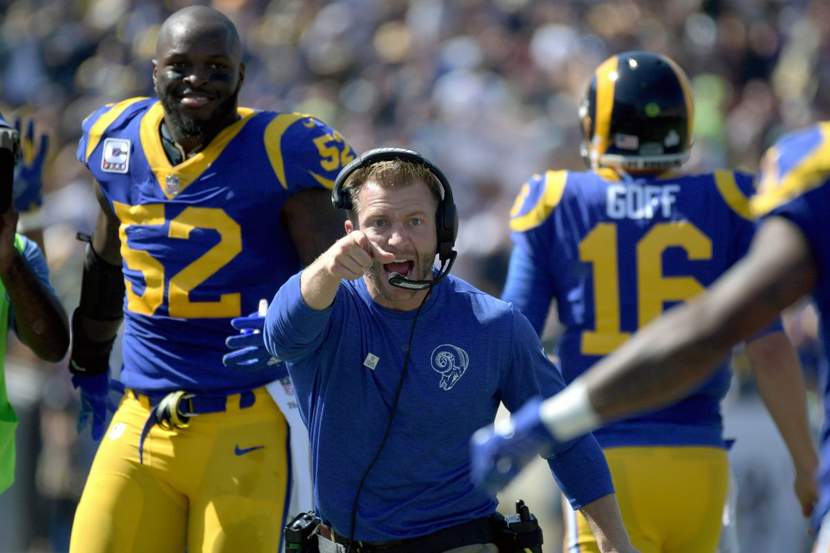 Los Angeles Rams HC Sean McVay celebrates after a touchdown against the Seattle Seahawks in Week 5