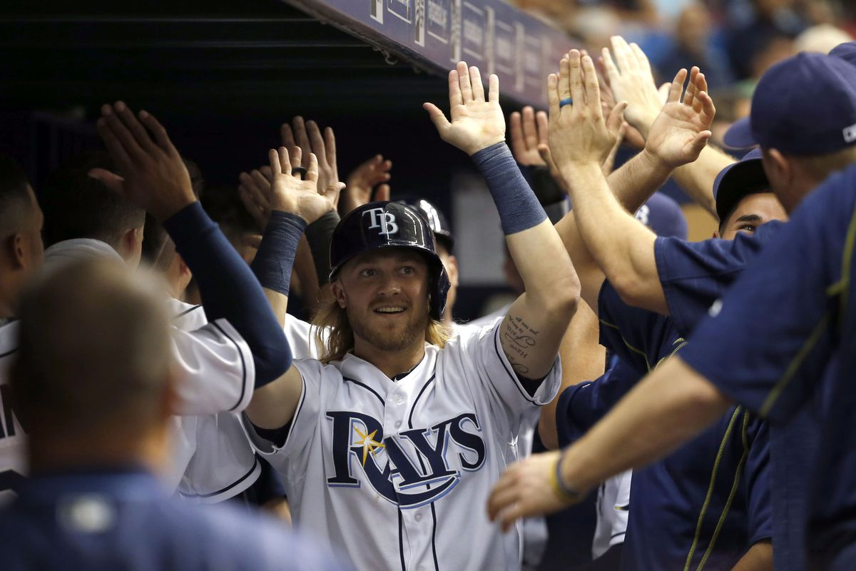 Taylor Motter celebrating in the dugout with Rays teammates