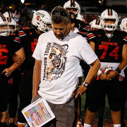 """Ogden football coach Erik Thompson, who was recently diagnosed with Lou Gehrig's disease, becomes emotional while addressing the crowd during the halftime of a high school football game billed as """"Erik Thompson Night"""" on Friday, Sept. 3, 2021, at Ogden High School in Ogden."""