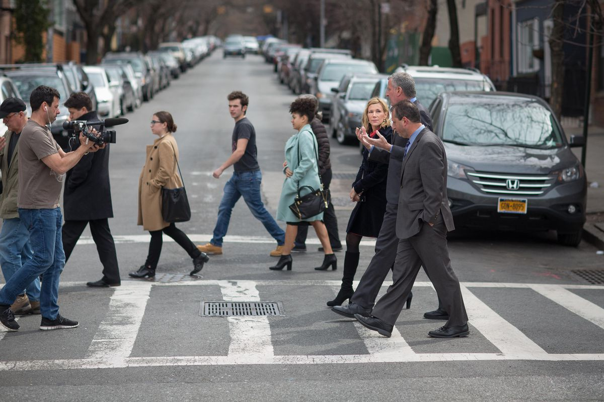 Mayor Bill de Blasio and Council Member Brad Lander do a neighborhood walk and talk in Brooklyn with Channel 4's Melissa Russo to discuss affordable housing on Wednesday, March 23, 2016.