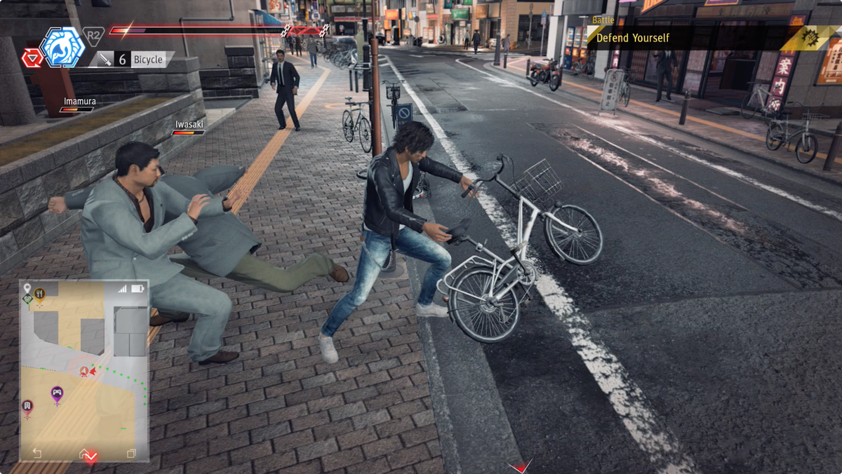 Judgment fighting with a bicycle