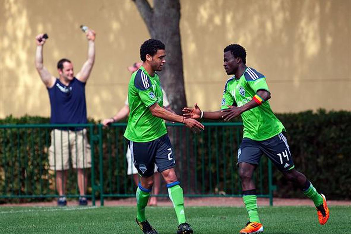 Lamar Neagle, left, has been one of the pleasant surprises in Seattle Sounders training camp. The Tacoma native finds himself in a battle for one of the final roster spots as the Sounders prepare to finalize their roster. (Photo by Sounders FC)
