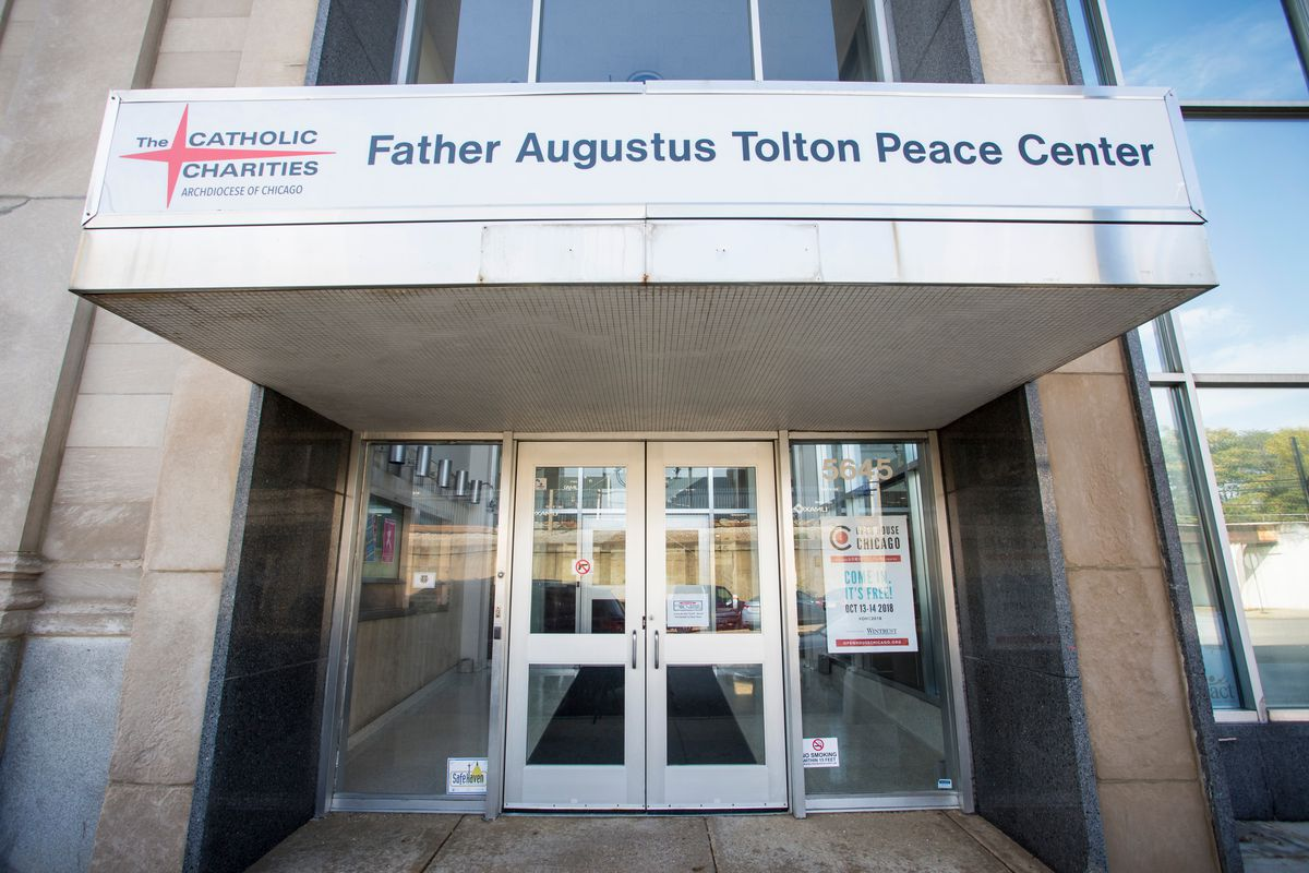 The Tolton Peace Center of the Catholic Charities, Archdiocese of Chicago, located in an historic building in the Austin neighborhood of Chicago, Wednesday, October 3rd, 2018. The building was originally the National Bank of Austin, the oldest section was