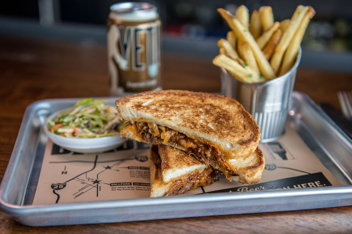 Braised short rib grilled cheese at Great Divide Brewhouse & Kitchen