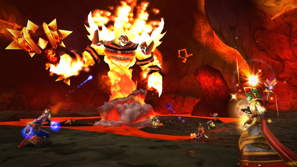 Molten Core, as depicted in World of Warcraft: Classic.