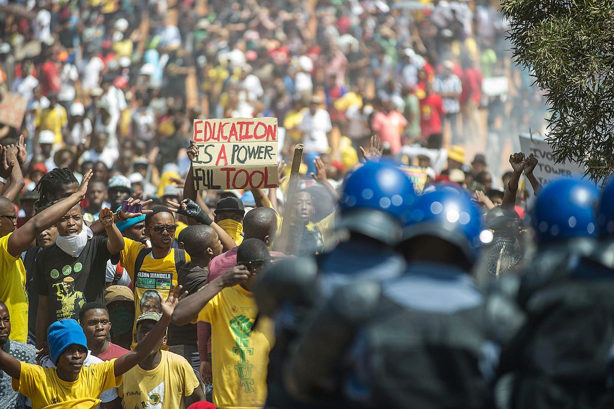 South African students face off against police during Friday's protests in Pretoria.