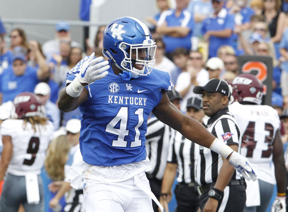 LEXINGTON, KY:  Kentucky Wildcats linebacker Josh Allen (41) celebrates a sack picked up against the Eastern Kentucky Colonels during a game at Commonwealth Stadium.
