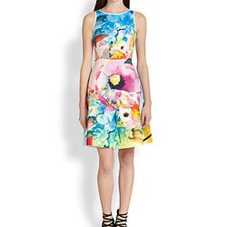 """Clover Canyon Fluorescent Rose Printed Cutout Dress, <a href=""""http://www.saksfifthavenue.com/main/ProductDetail.jsp?PRODUCT%3C%3Eprd_id=845524446691959&site_refer=GGLPRADS001&cagpspn=pla&CAWELAID=500002830003696628&catargetid=500002830003806128&cadevice=c"""