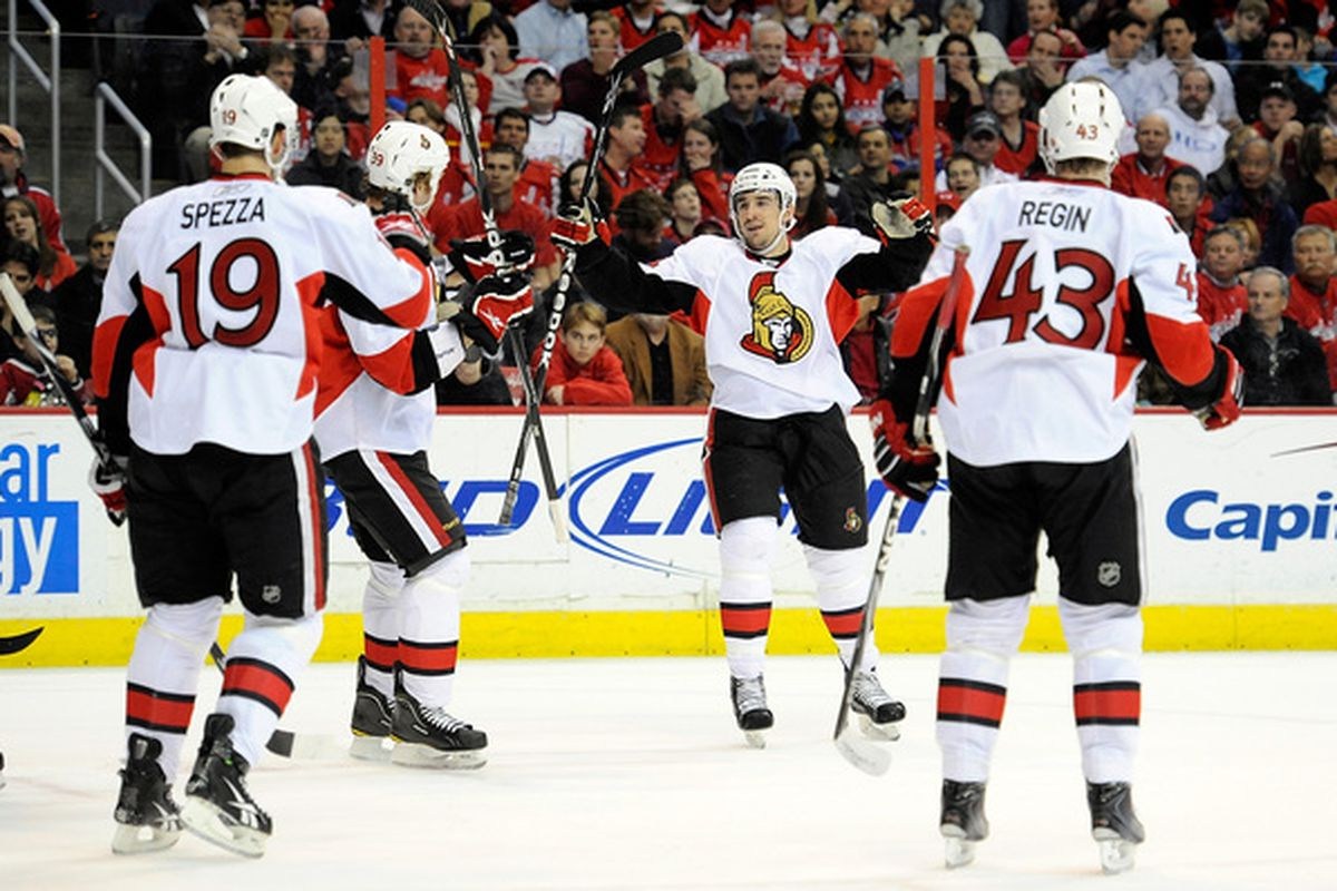 WASHINGTON - MARCH 30:  Chris Campoli #14 the Ottawa Senators celebrates with teammates after scoring in the first period against the Washington Capitals at the Verizon Center on March 30, 2010 in Washington, DC.  (Photo by Greg Fiume/Getty Images)