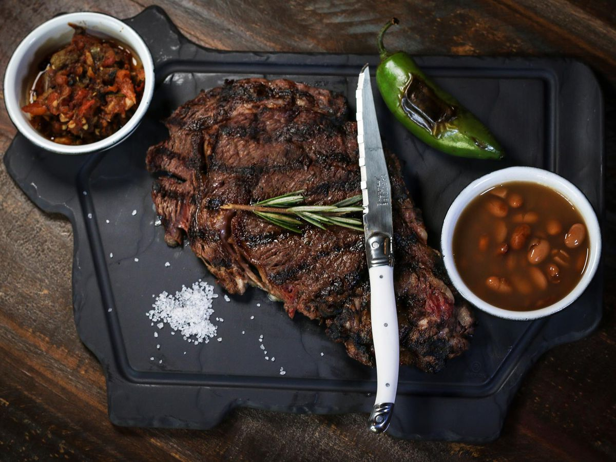 A large cut of carne asada at Asadero Ballard.