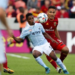 Sporting Kansas City forward Latif Blessing, left, fights for possession with Real Salt Lake defender Marcelo Silva at Rio Tinto Stadium in Sandy on Sunday, Oct. 22, 2017.