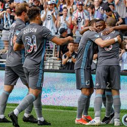 July 3, 2019 - Saint Paul, Minnesota, United States - Minnesota United forward Darwin Quintero (25) celebrates with his team mates after scoring the opening goal against San Jose Earthquakes match at Allianz Field.