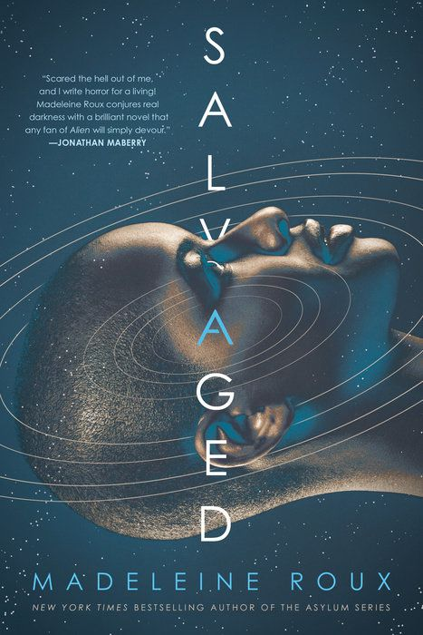 the cover for salvaged; a woman's head is suspended in space