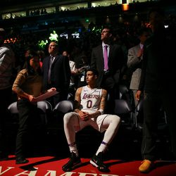 Los Angeles Lakers forward Kyle Kuzma (0) waits for the game to start against the Utah Jazz at Vivint Smart Home Arena in Salt Lake City on Tuesday, April 3, 2018.