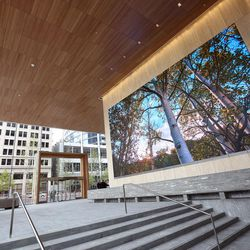 The lobby of 111 Main at City Creek, pictured here, adjoins the lobby of the new George S. and Dolores DorÉ Eccles Theater to create an open, flowing space in Salt Lake City on Tuesday, Oct. 11, 2016.