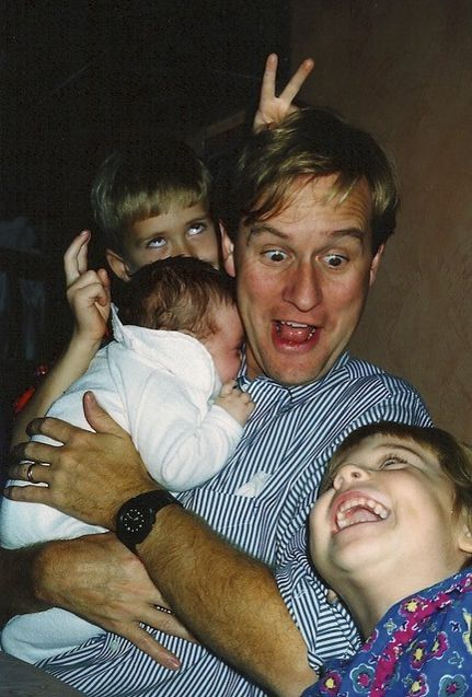 Steve Doocy is pictured with his children, Peter, back, Mary, front, and newborn Sally in 1993.