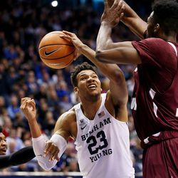 Brigham Young Cougars forward Yoeli Childs (23) is fouled under the basket as BYU and Texas Southern play an NCAA basketball game in Provo at the Marriott Center on Saturday, Dec. 23, 2017. BYU won 73-52.