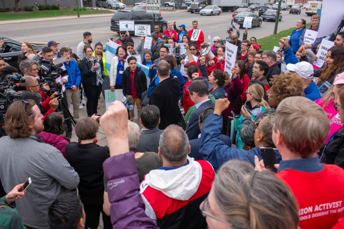 Charter teachers rally in Chicago after announcing a strike day of May 1.