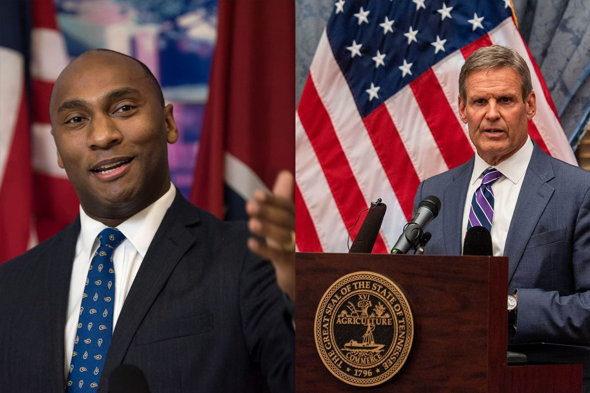 (Left to right) Shelby County Mayor Lee Harris and Tennessee Governor Bill Lee make speeches in two separate photographs.