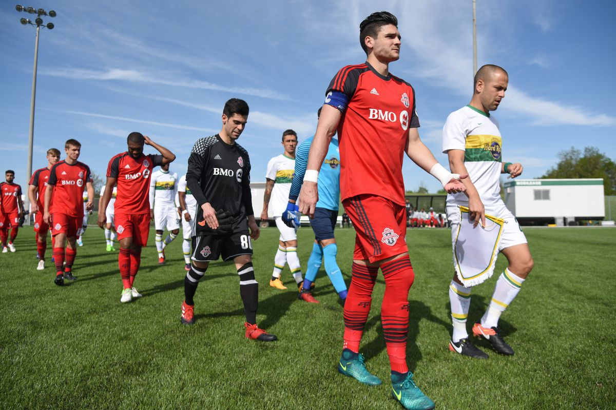 USL Photo - Taintor leads TFC II out against the Tampa Bay Rowdies at the Ontario Soccer Centre in Vaughan