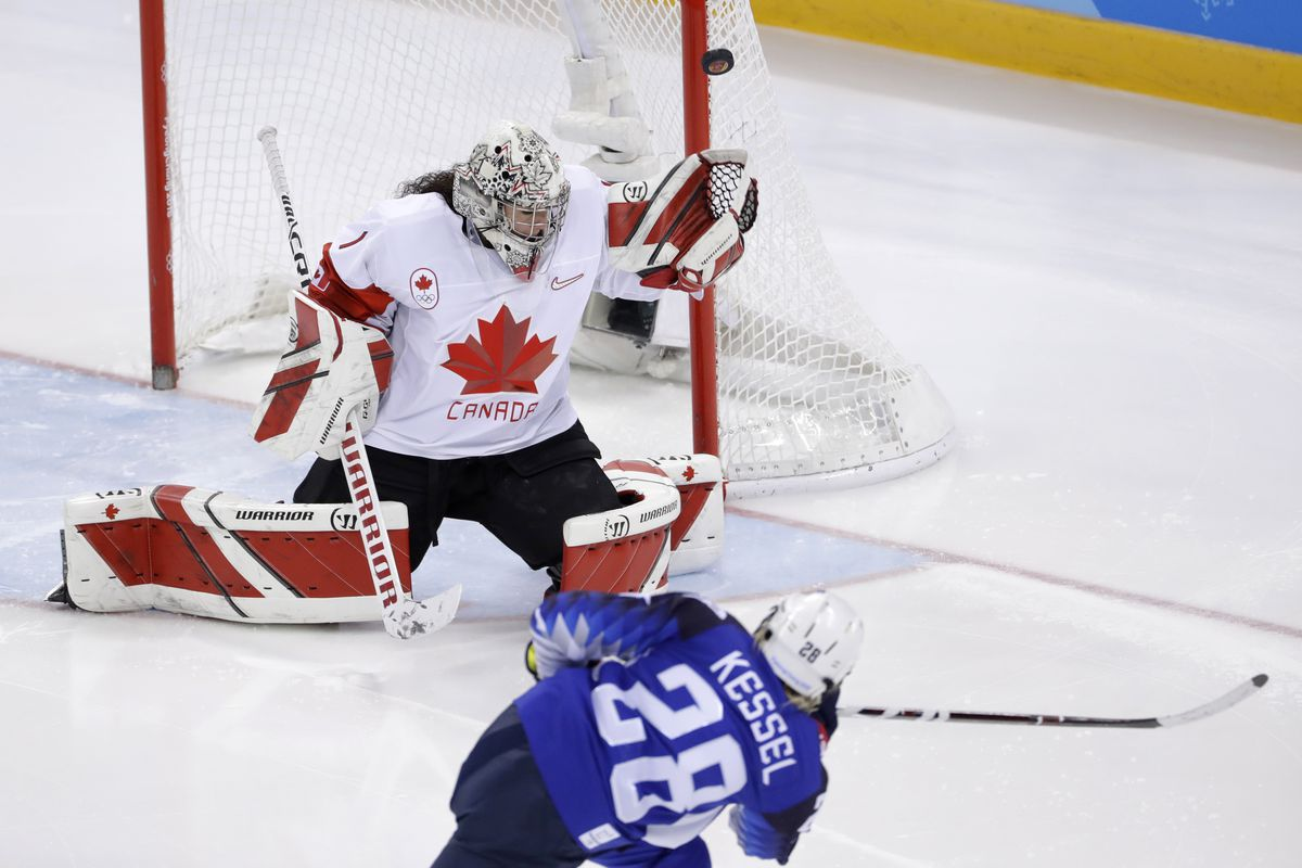 Goalie Shannon Szabados #1 of Canada deflects a shot by Amanda Kessel #28 of the United States