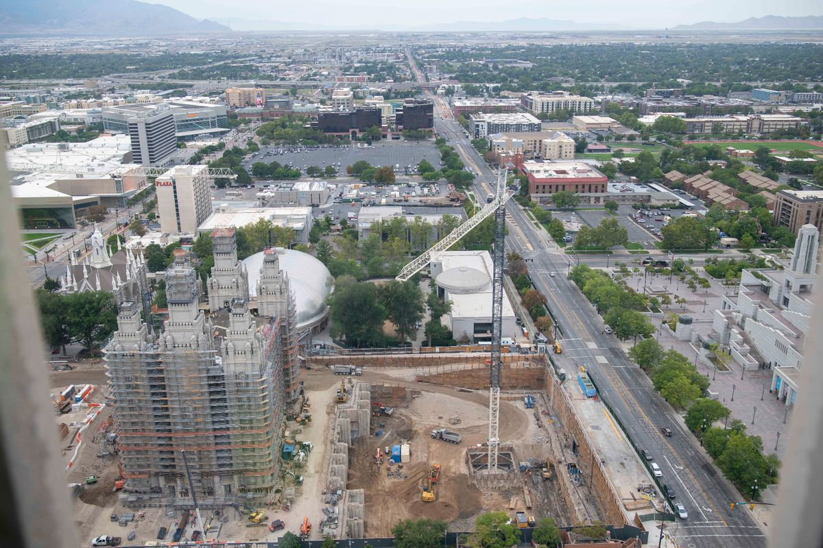 Aerial view of Temple Square during its renovation, Salt Lake City, Utah, Sept. 2021.