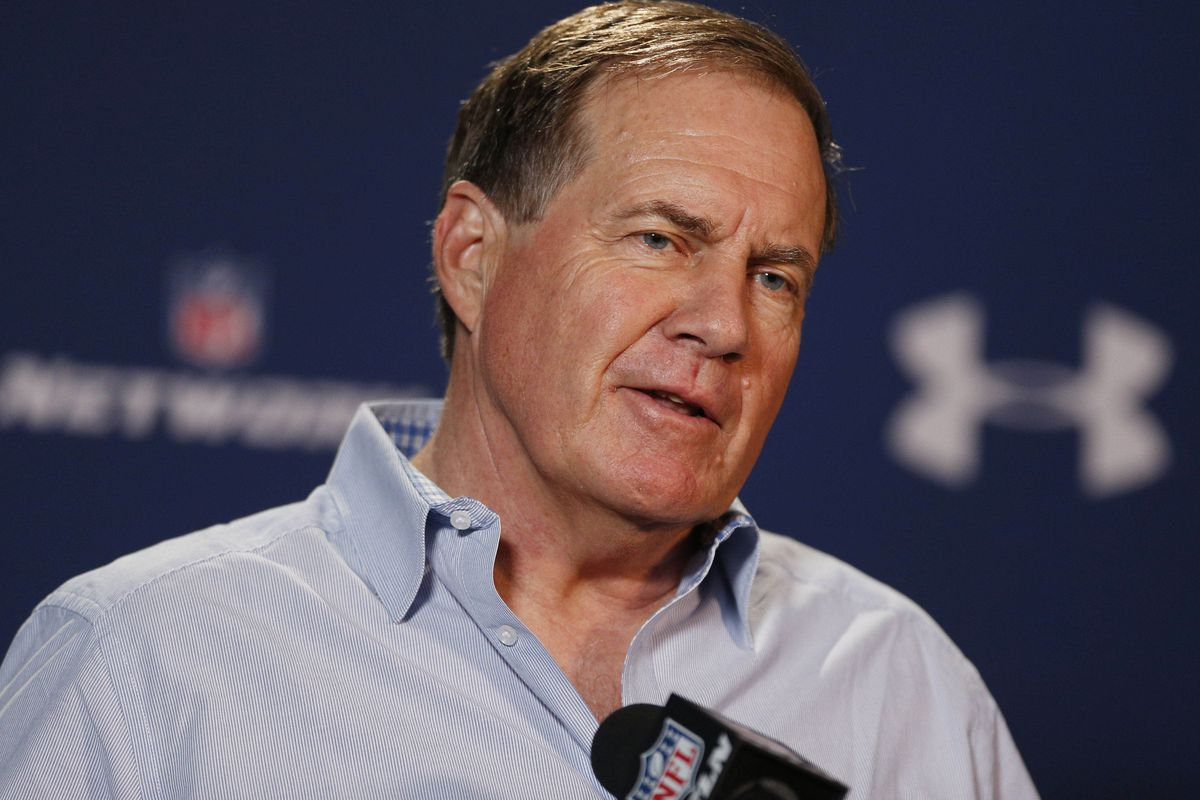 Belichick takes the podium yesterday at the Combine