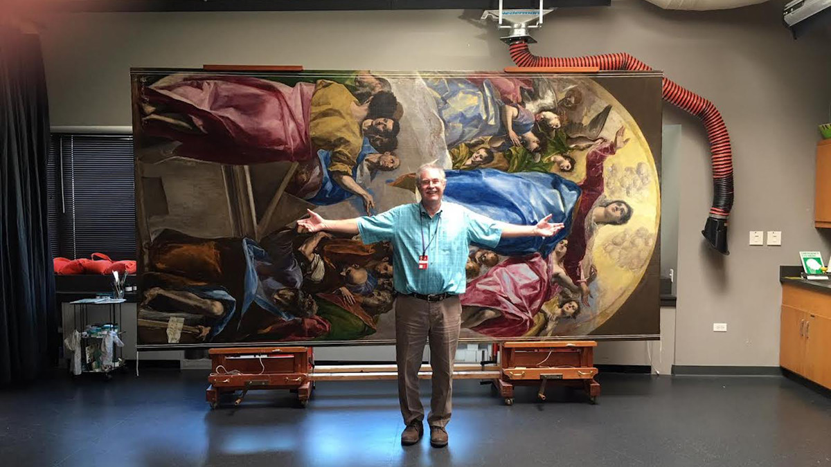 "Conservator Frank Zuccari and ""The Assumption of the Virgin,"" a painting by El Greco that he worked for more than two years to restore."