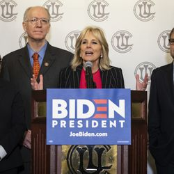 (From left) Mayor Lori Lightfoot, U.S. Rep. Bill Foster and U.S. Rep. Mike Quigley look on as former Second Lady of the United States Jill Biden speaks during a press conference at the Union League Club, March 6, 2020.
