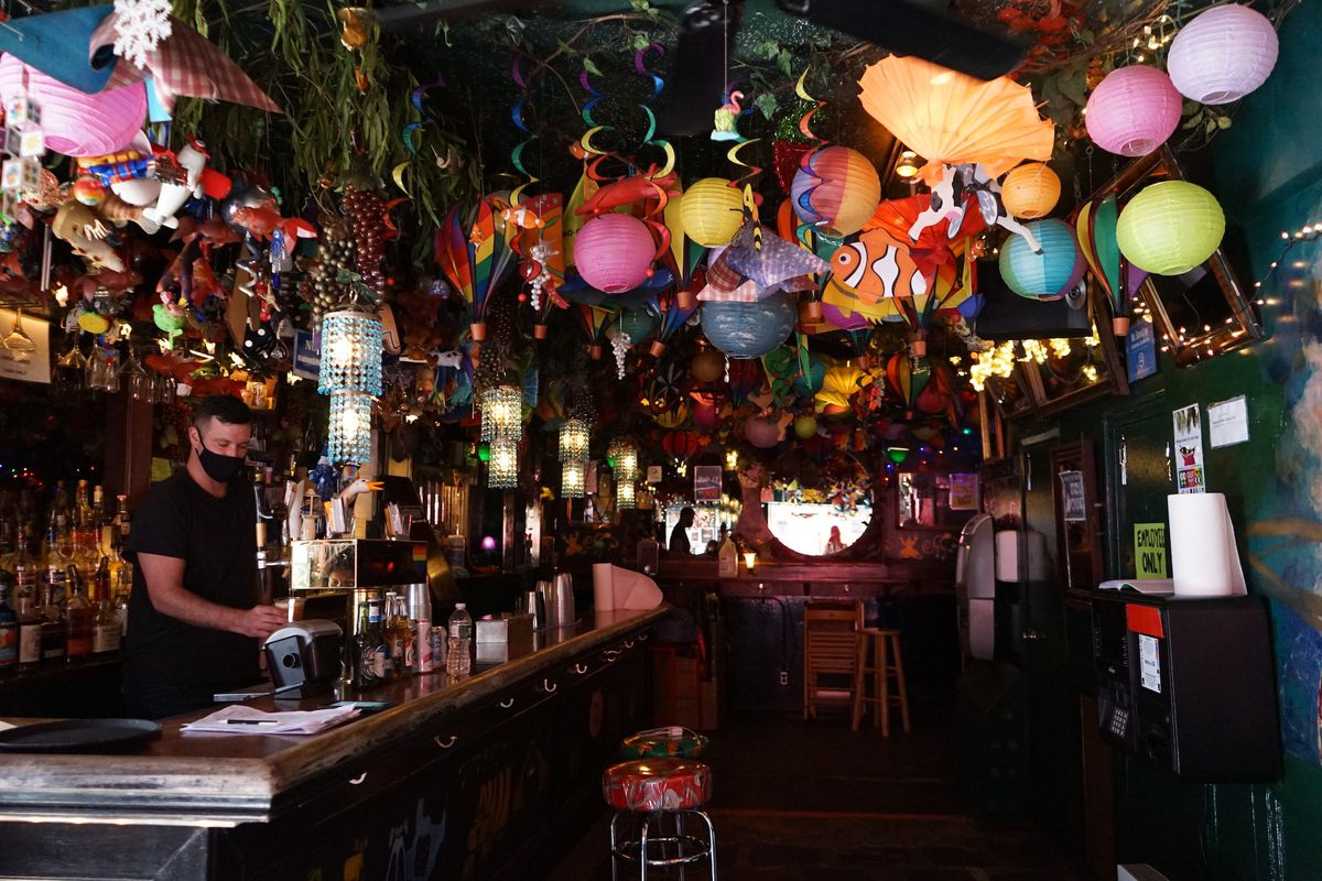 The festive indoor decor at Cubbyhole in the West Village
