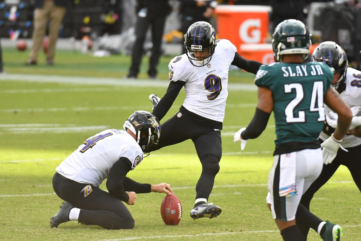 Baltimore Ravens kicker Justin Tucker kicks a field goal against the Philadelphia Eagles during the fourth quarter at Lincoln Financial Field