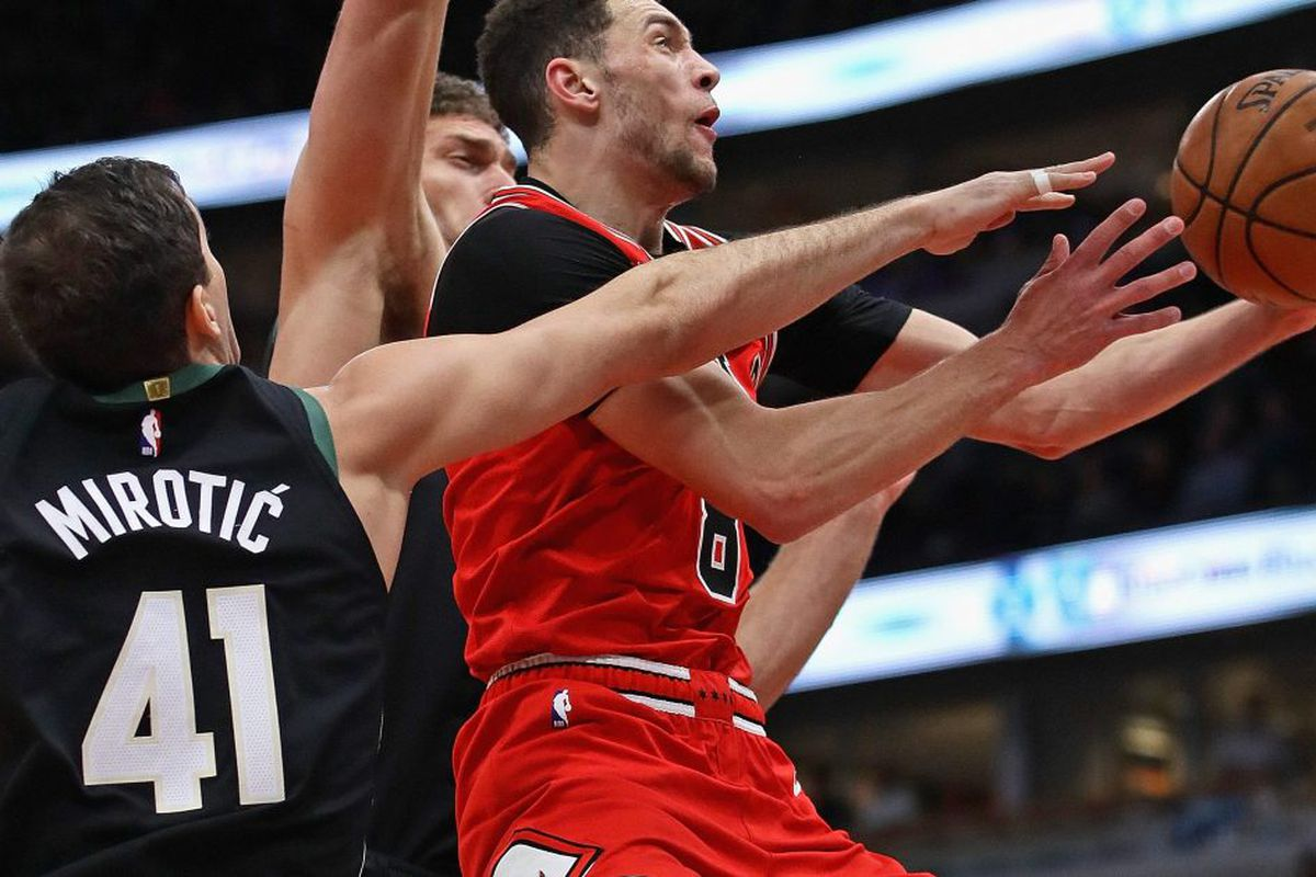 585e80eb1820 Bulls guard Zach LaVine drives to the basket in the Bulls  117-106 loss to  the Milwaukee Bucks on Monday night at the United Center.