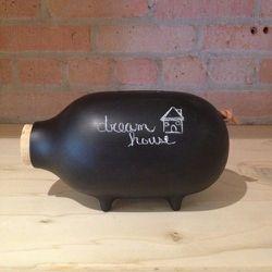 """Chalk Piggy Bank at <b>Twelve Chairs</b>, <a href=""""http://shop.twelvechairsboston.com/z007-LGS-PIGGY+BANK.html"""">$85</a>"""