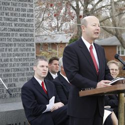 Service commemorating 100 years since the placement in Richmond, Mo., of the monument to the Three Witnesses to the Book of Mormon Monday, Nov.21, 2011. Richard E. Turley Jr., assistant Church Historian, recounts history of the Three Witnesses Monument behind him.