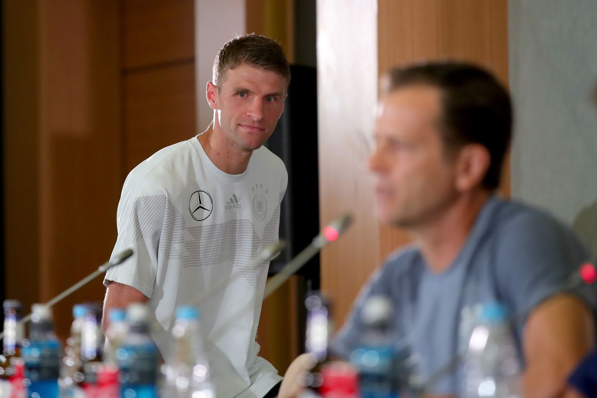 Germany Training & Press Conference SOCHI, RUSSIA - JUNE 20: Thomas Mueller of Germany arrives for a press conference after a Germany training session during the 2018 FIFA World Cup at Park Arena Training Ground on June 20, 2018 in Sochi, Russia.