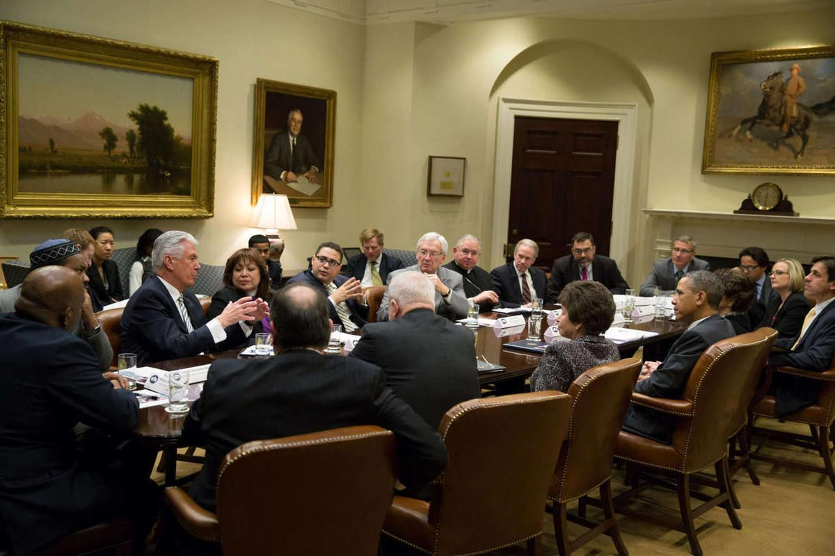 President Barack Obama holds an immigration meeting with faith leaders in the Roosevelt Room of the White House, March 8, 2013.