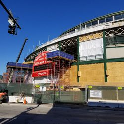 View of the main entrance to Wrigley