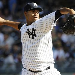 New York Yankees starting pitcher Ivan Nova throws against theTampa Bay Rays in the first inning of a baseball game, Saturday, Sept., 15, 2012, at Yankee Stadium in New York. The Yankees won 5-3.