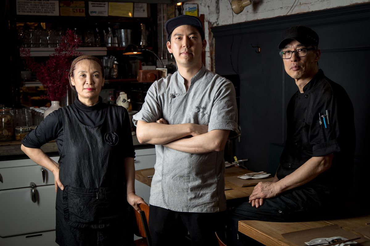 From left: cold chef KyungAe Park, head chef NamHyung Woo, sous chef KangMoo Lee