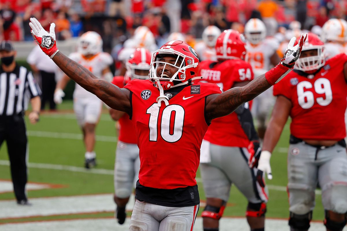 Kearis Jackson of the Georgia Bulldogs reacts after a touchdown reception against the Tennessee Volunteers during the second half at Sanford Stadium on October 10, 2020 in Athens, Georgia.