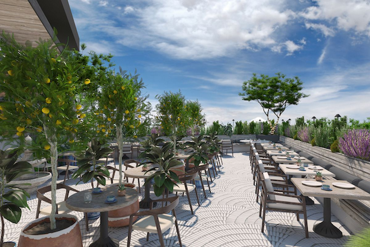 Renderings for Lowell Cafe restaurant in West Hollywood