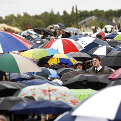 Thousands turn out in the rain Saturday, Oct. 8, 2011 for the ground breaking for the Payson Temple.