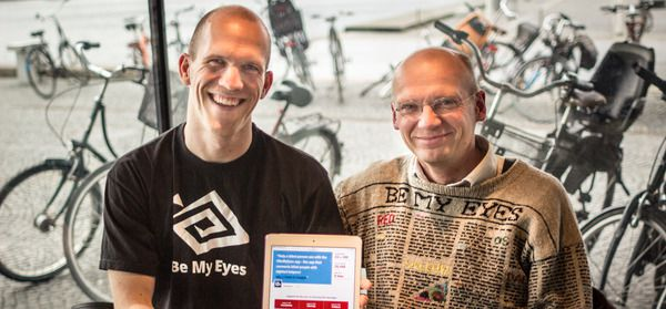 Be My Eyes co-founders Thelle Kristensen, left, and Hans Jørgen Wiberg, spent more than two years developing the app.